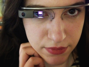 Rosa Golijan wears Google Glass on Tuesday, April 30, 2013.